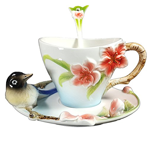 Yosou Home 3D Lying Magpie Pure Hand-painted Enamel Coffee Mug and Saucer With Gift Box For Girls