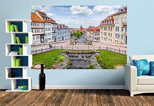 Premium Foto-Tapete Wasserkunst Brunnen mit Sicht auf Rathaus (versch. Größen) (Size M | 279 x 186 cm) Design-Tapete, Wand-Tapete, Wand-Dekoration, Photo-Tapete, Markenqualität von ERFURT