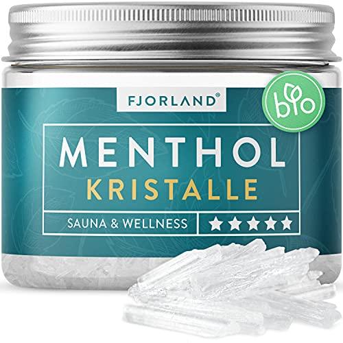 FJORLAND® Mentholkristalle 100g - Premium Qualität für die Sauna - Kristalle aus Menthol - Saunaaufgüsse - In praktischer wiederverschließbarer Dose - 100% natürliche Inhaltsstoffe