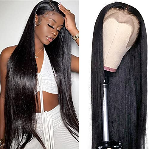 Straight Lace Front Wigs Human Hair 18 Inch 13x4 Glueless Lace Frontal Brazilian Virgin Human Hair Wigs for Black Women pre plucked with Baby Hair 18 inch