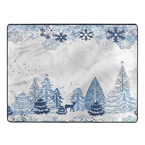 Winter Carpet Deer Pine Trees Xmas Living Room Carpets for Children Bedroom Home Decor 4 x 6 Ft
