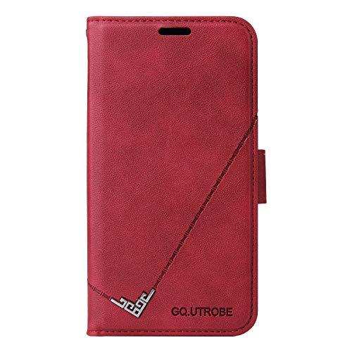 Coque pour Huawei P20 Lite/Nova 3e Protection Housse en Cuir PU Pochette,[Emplacements Cartes],[Fonction Support],[Languette Magnétique] pour Huawei P20Lite - DEYTB010489 Rouge