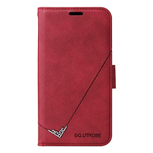 Leather Wallet Case for Huawei P Smart 2019/Honor 10 Lite PU Leather Wallet Phone Case Flip TPU Shockproof Shell Slim Fit Protective Cover for Huawei Honor10 Lite - EYYTB010468 Red
