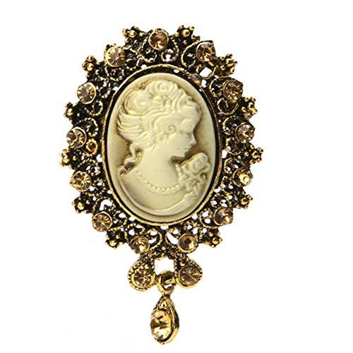 Lady Vintage Cameo Victorian Style Wedding Party Women Pendant Brooch Pin-Gd