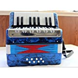 Vobajf Acordeón Colección de música de acordeón percusión acordeón de Juguete 17 Claves de Desarrollo Infantil Niño Niña for la Edad de 6 Fácil De Aprender Y Jugar (Color : Azul, Size : 24x12x24cm)