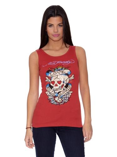 Ed Hardy Camiseta Love Kills Web Rojo Única