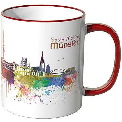 WANDKINGS® Tasse, Schriftzug Guten Morgen Münster! mit Skyline - ROT