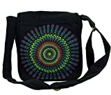 Guru-Shop Schultertasche, Hippie Tasche, Goa Tasche - Schwarz, Herren/Damen, Baumwolle, Size:One Size, 25x25x7 cm, Alternative Umhängetasche, Handtasche aus Stoff