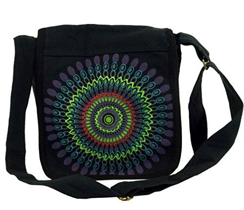 GURU SHOP Schultertasche, Hippie Tasche, Goa Tasche - Schwarz, Herren/Damen, Baumwolle, Size:One Size, 25x25x7 cm, Alternative Umhängetasche, Handtasche aus Stoff