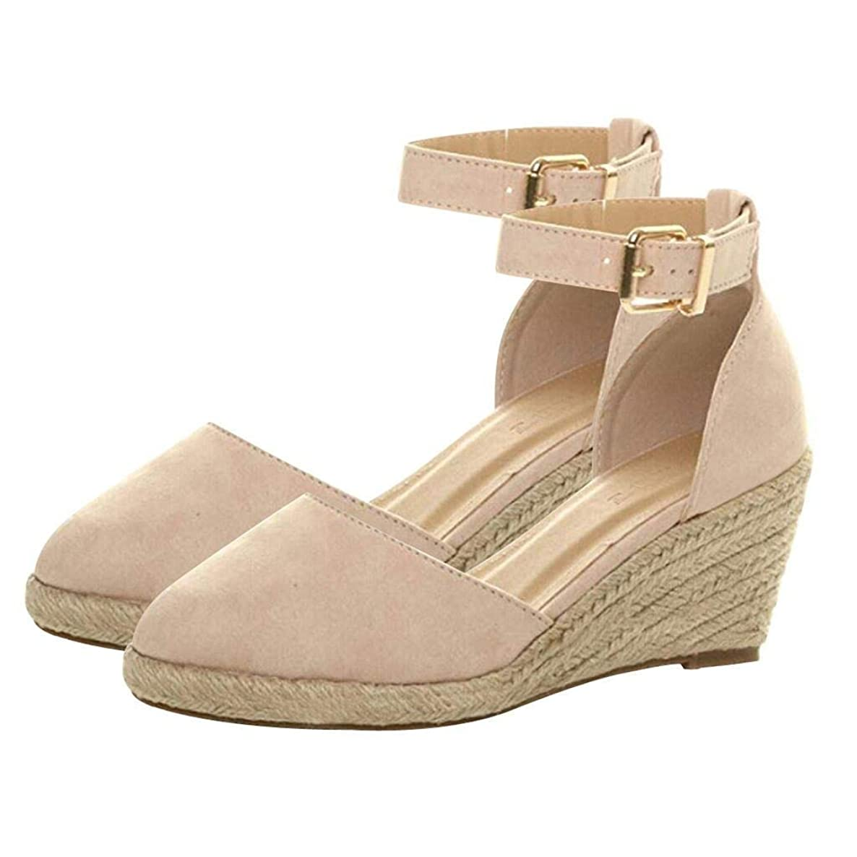 Women' Weaving Buckle Ankle Strap Sandals Wedges Sandals Summer Breathable Shoes