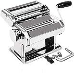 Nudelmaschine Edelstahl Pasta Maker 3 in 1, (8 Dickeneinstellungen) Manuell Pastamaschine Nudel Maschine für Spaghetti, Lasagne, Tagliatelle