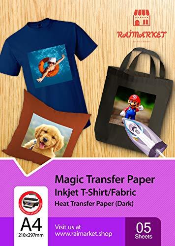 Raimarket Transferpapier/Bügelpapier/Transferfolie für DUNKLE Textilien/Stoffe 5 Blatt | A4 Inkjet Bügeleisen auf Papier/T-Shirt-Transfers | Textilefolien | DIY Stoffdruck (5)