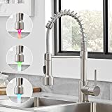 Kitchen Faucet with LED Light, WOTOKOL Pull Down LED Kitchen Sink Faucet with Sprayer Spring Single Handle Solid Brass Kitchen Faucets Brushed Nickel