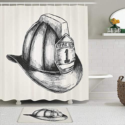 TARTINY 2-teiliges Duschvorhang-Set mit rutschfesten Teppichen,Skizzen-Stil-Illustration eines Feuerwehrmann-Symbols der Feuerwehr mit 12Haken,rutschfeste Badematte,wasserdichter Duschvorhang