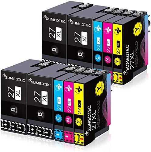 SUMEDTEC 27XL 10 Cartuchos de Tinta para Epson Multipack Compatible con Epson Workforce WF-3620 WF-3640 WF-7110 WF-7210 WF-7610 WF-7620 WF-7710 WF-7715 WF-7720 (4 Negro,2 Cian,2 Magenta,2 Amarillo)