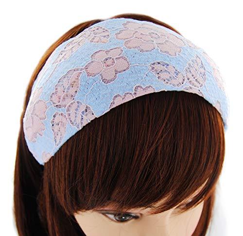 axy Breiter Haarreif mit Rosenmuster aus wunderschöner Spitzenstoff Haarband Hairband Stirnband Rosen HRST1 (Blau-Pink)