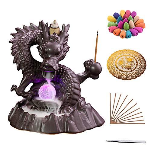 Suntapower - Quemador de incienso hecho a mano con forma de dragón, soporte de...