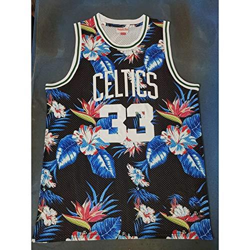 QQA Basketball Trikot Klassisch Bestickter Stoff Mesh-Sweatshirt Cool Atmungsaktiv # 33 Larry Bird Mode Blumen Version,XXL