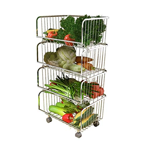 Keuken opbergrek Fruit en groenten vliegtuigen JT Storage Pot En Kom opslaan Boeken Bearing Gewicht 160KG Multi-layer Overlay roestvrij staal sterk en stevig Fruit en groenten vliegtuigen