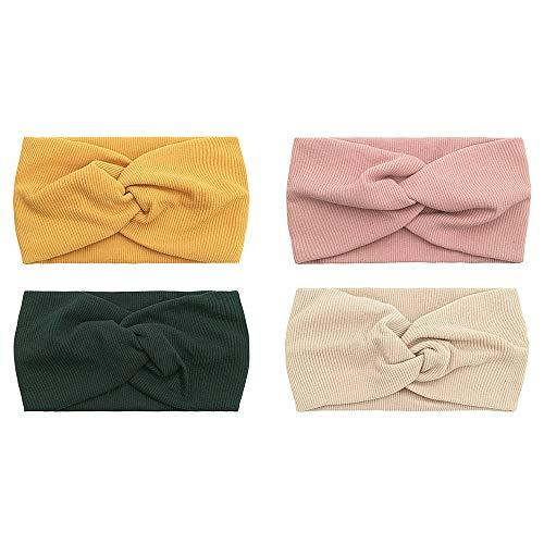 Durio 4 Stück Haarband Damen Blumen Stirnband Elastisch Vintage Kopfband Breit Turban Boho Haarschmuck 4 Pack J
