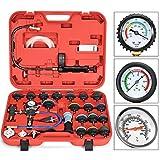 Goplus Set di 28 Pezzi per Rilevatore di Perdite, Kit Tester Pressione di Compressione, Prova del Sistema di Raffreddamento con Scatola (Rosso)