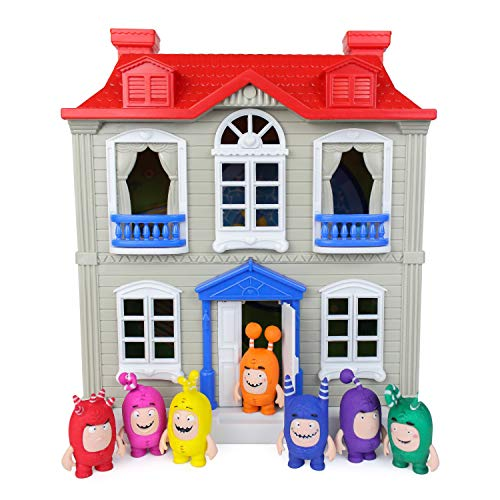 Casetta Giocattolo Oddbods Rossa, Bianca e Blu per Bambini – Include Spazi Interni ed Esterni con Mobili e 7 Statuette Dettagliate degli Oddbods, Età 3+