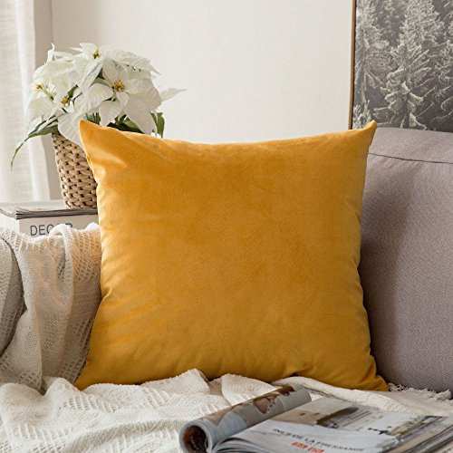 MIULEE Velvet Soft Decorative Square Throw Pillow Case Cushion Covers Pillowcases for Livingroom Sofa Bedroom with Invisible Zipper 26'x26' 1 Piece Mustard