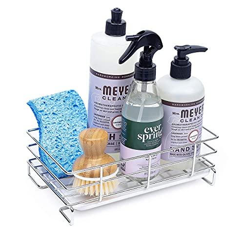 HandyHomeConcepts Sponge Holder For Sink (2021) Large Sink Caddy Kitchen Soap Tray Dish Soap Caddy Kitchen Bathroom Sink Organizer Brush Holder - 9x5x3' (not incl. Soaps, Brush, Sponge)