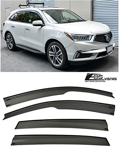 Extreme Online Store Replacement for 2014-Present Acura MDX   EOS Visors JDM Mugen Style Smoke Tinted Side Vents Window Deflectors Rain Guard
