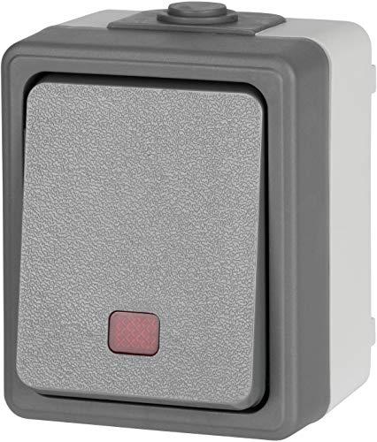 Aufputz Feuchtraum Ein-/Ausschalter mit LED IP44 - Serie FX1 - dunkel-grau