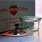 12 Weck Mini Sturzgläser 50ml mit mit Glasdeckel, Ringen und Klammern im Original Karton (Mit Glasdeckel, Ringen und Klammern)