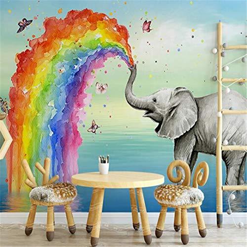 Behang aangepaste fotobehang 3D schattige olifanten aquarel muurschildering kinderen slaapkamer achtergrond muurschildering creatieve muurschildering behang 3D 350 cm x 245 cm.