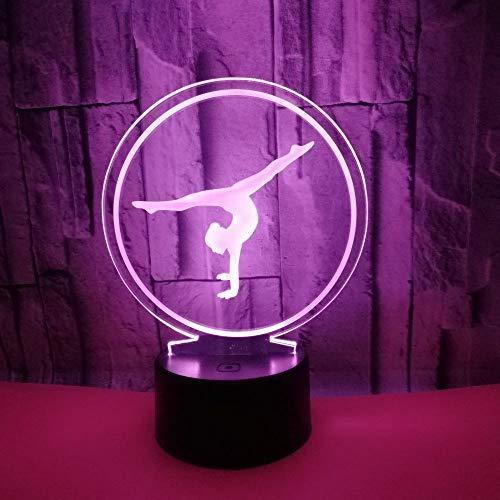 Preisvergleich Produktbild Led8N 3D Illusion Lampe LED Nachtlicht, 7 Farben Blinken Berührungsschalter Schreibtischlampe für Kinder Acryl Flat, ABS Base, USB Kabel, 9 Lichtquelle Turnerin
