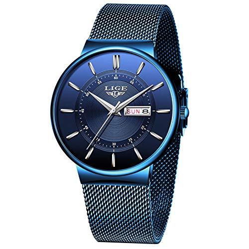 LIGE Hombres Relojes Moda Deportes Reloj de Cuarzo Analógico Hombres Impermeable Correa de Malla Azul Calendario Reloj de Pulsera para Hombre de Negocios Gents Vestido