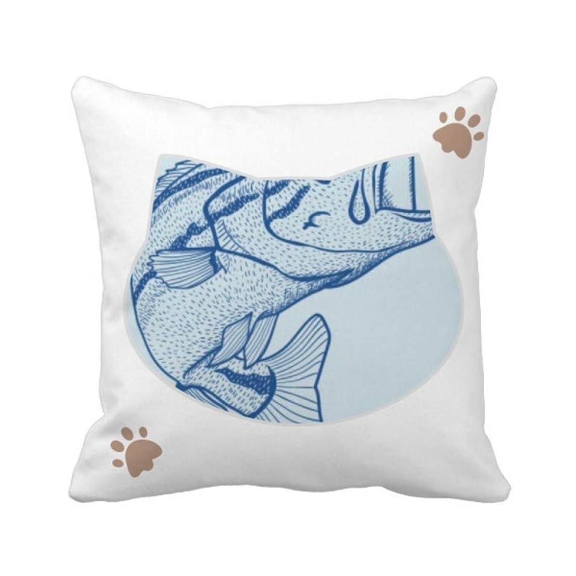 燃やす大きなスケールで見るとコットン穀物ブルービッグフィッシュ 枕カバーを放り投げる猫広場 50cm x 50cm