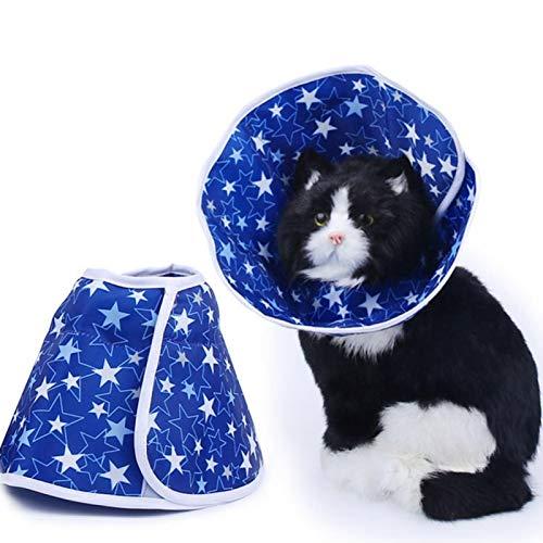 Jeanoko Collar para mascotas con patrón de estrellas, collar de recuperación de mascotas, para perros y gatos para evitar arañazos y lamer (M)