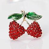 Broche de insignias para hombres y mujeres, diseño de cerezo con diamantes de imitación, color rojo