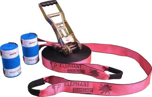 Elephant Slacklines Addict Flashline inkl. Baumschutz, Pink, 25 m, 22,5 m Slacklineband + 2,5 m Ratschenband, *Made in Germany*, Breite 50mm