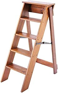 LJL Step Stool for Adults Solid Wood Folding Ladder Stool Multifunction Stepladder Stairway Chai