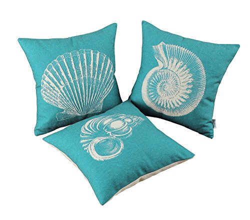 CaliTime Set of 3 Canvas Throw Pillow Covers Cases for Couch Sofa Home Decoration Mediterranean Sea Shells Print 18 X 18 inches Teal