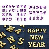 Juego de 40 moldes para decoración de tartas, diseño de letras del alfabeto, color lila