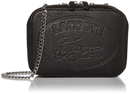 Lacoste Women Leather Crossover with Chain, Black
