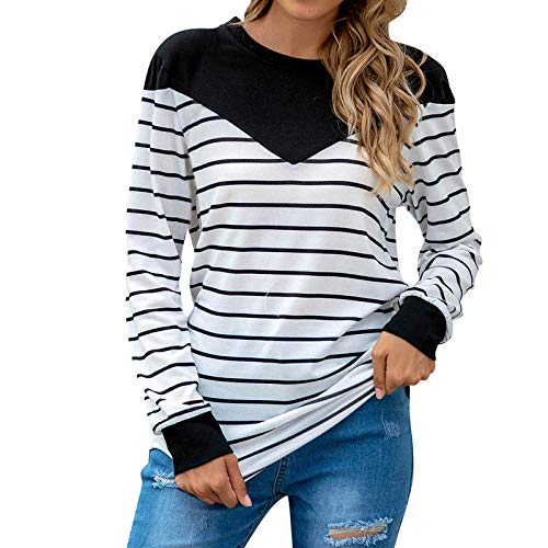 KANGMOON Womens Long Sleeve Striped T-Shirt Color Block Striped Shirts Casual Blouse Pullover Black