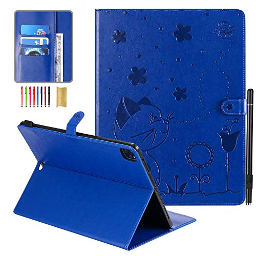 iPad Pro 12.9 2020 Cover with Pencil Holder, 2020 iPad Pro 12.9 Cover, APOLL Embossed Cat PU Leather Scratch Resistant Stylus Loop Magnetic Protective Case for iPad Pro 12.9 2020 & 2018, Blue Cat