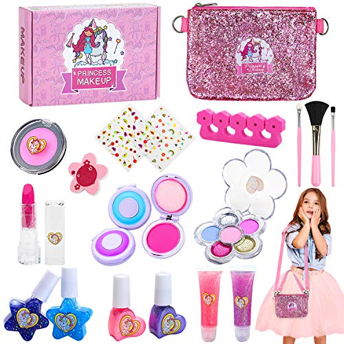 Jojoin Makeup Set für Kinder, 20 Stück Waschbar Kinderschminke Set, Einhorn Tasche mit 2 Langen Riemen, Nagellack Set, 3 Haarfarbclip, 2 Lipgloss, Geeignet für Schöne Kleine Mädchen