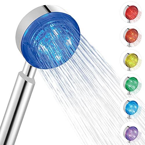 BONADE LED Duschkopf mit 7 Farben Automatischen Farbwechsel, Universal Handbrause aus ABS und Duschkopf Regendusche LED, Wasserkraft Duschbrause für Baden und Spa