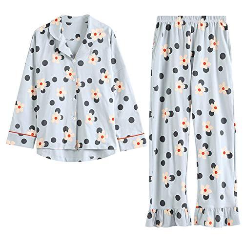 GOSO Pijama para niñas con Estampado de Dibujos Animados y Pantalones Largos, Ropa de Noche para niños de 7 8 9 10 11 12 13 años Azul Gris Azul X-Large