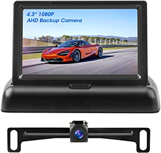 $49 » 2021 Newest AHD Backup Camera for Car with Monitor, 1080P Rear View Camera Enhanced Night Vision with License Plate Camera...