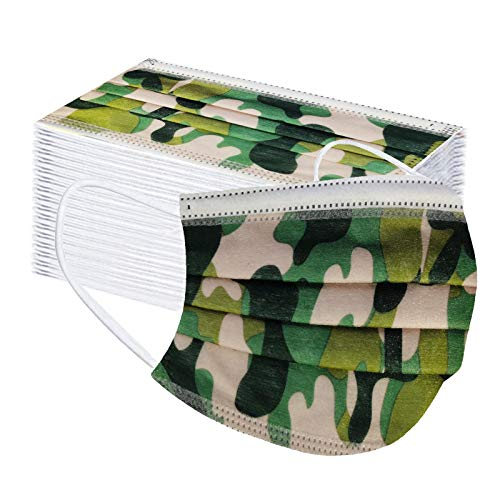 Koippimel 50Pcs, Camouflage Printed Disposable Face_Mask for Women Men, Adult Breathable 3Ply_Masks with Nose Bridge Strip for Nose and Mouth Full Protection, 1107 Style_059