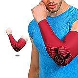 NATUREACT - Coudières de sécurité sportive - Protège-coudières - Protège-bras - Manchon de compression - Pour cyclisme, basket-ball L Rouge